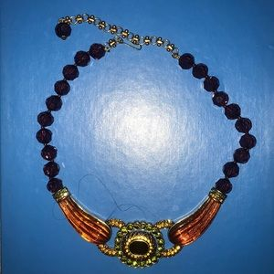Heidi Daus necklace purple beads and topaz